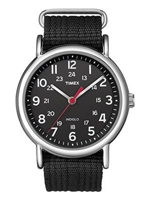 TIMEX WEEKENDER ANALOG BLACK CANVAS STRAP WATCH shock resistant and with night vision