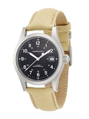 khaki aviation timepiece with day date