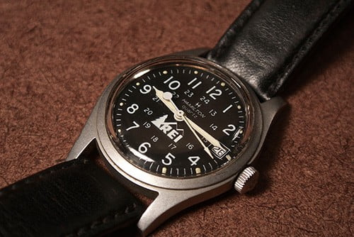 hamilton khaki field with day date, leather strap and auto chrono