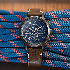 Timex men's watch with brown leather strap