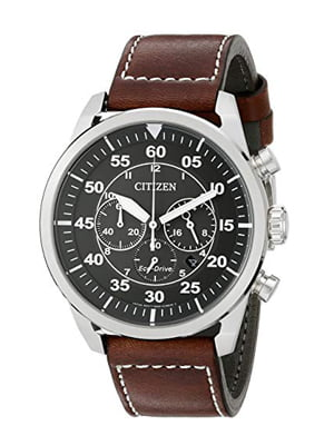 citizen eco-drive men's stainless steel leather avion