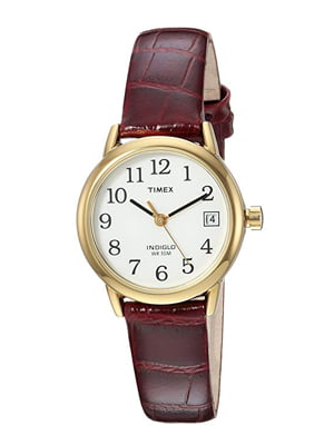 timex women's indiglo easy reader quartz analog leather strap watch